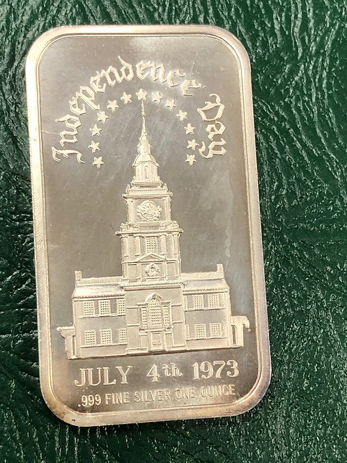 Independence Day, July 4, 1973 Art Bar 1 oz .999 Silver