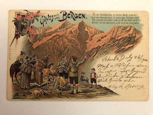 Vintage 1900 postcard Aus den Bergen (From the Mountains) SWITZERLAND, Strauss