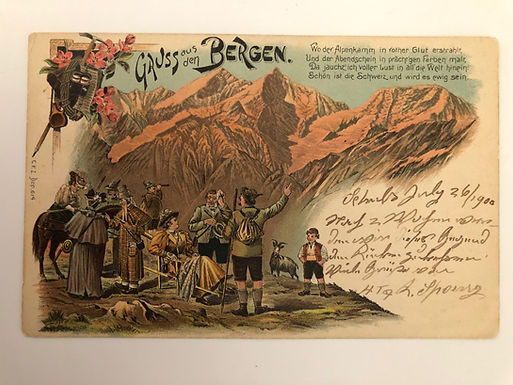 Vintage 1900 postcard Aus den Bergen (From the Mountains) SWITZERLAND, Strauss