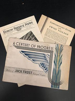 1933 Chicago World's Fair Booklets: Edison Service, Jack Frost, Swiss Village