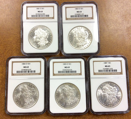 5 Morgan Dollars- all NGC graded MS63 older holders,1881-S, 84-o, 83-o, 85-o, 87