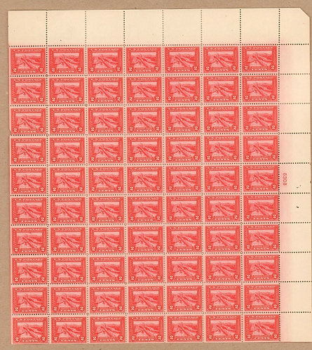 398 Panama-Pacific Exposition 2c MNH Rare Mint sheet of 70. Issued 1913