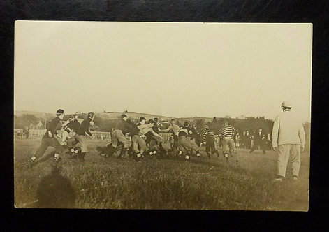 1910 FOOTBALL Game/practice Real Photo Postcard, Leather Helmets