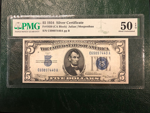 1934 $5 Silver Certificate FR# 1650 CA Block - PMG Graded 50 About Uncirculatedv