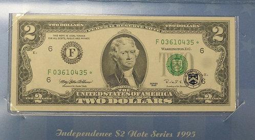 1995 $2 STAR Note U.S. Independence $2 BEP folder