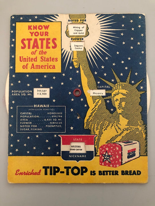1953 Know Your States of the USA Tip-Top Bread Advertising, AK & HI pending