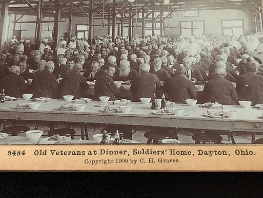 Stereoview Old Veterans at Dinner, Soldiers Home, Dayton, OH 1900