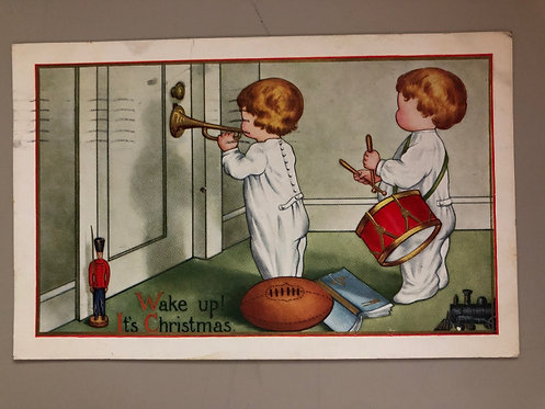ANTIQUE 1914 Whitney Christmas postcard, Little Children waking up parents