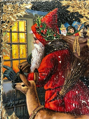 Antique 1900's HAND PAINTED Christmas Postcard, SANTA CLAUS and GOLD detail