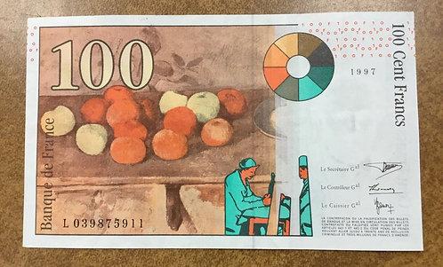 1997 Banque de France UNCBanknote   100 Francs P-158, Paul Cezanne