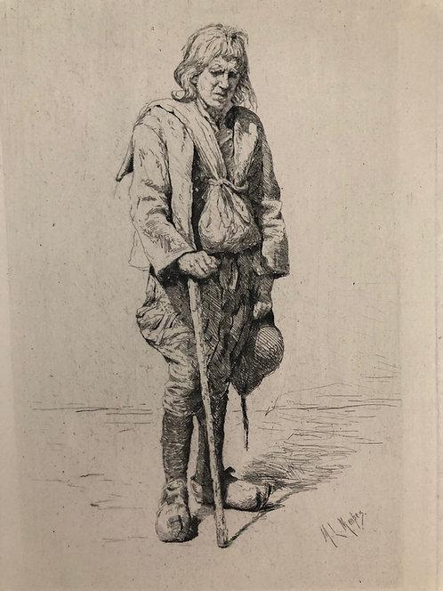 """Vintage Etching print on paper by Artist Mortimer Menpes """"A Breton Beggar"""" 1883"""