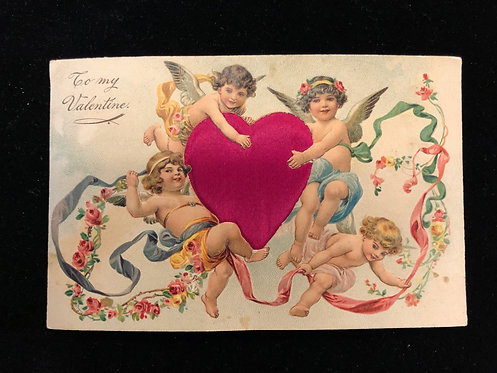 Antique 1900's Valentine Postcard CUTE CUPIDS, FABRIC RED HEART Thick Bond Paper