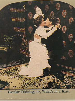 """Humorous Antique 1900's Stereoview """"Oscular Training or What's in a Kiss"""""""