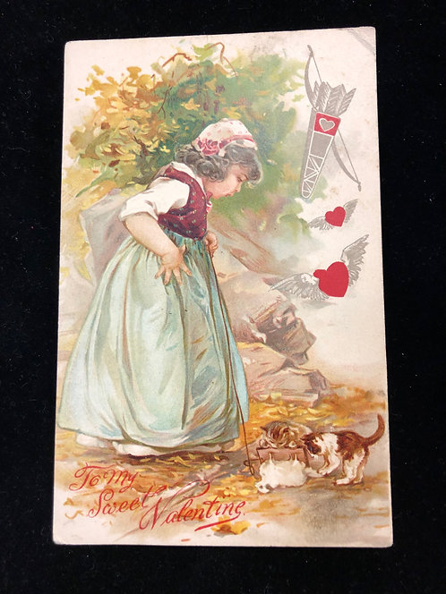 "Antique ""To My Sweet Valentine"" Postcard, Little Girl Watches Kittens playing"