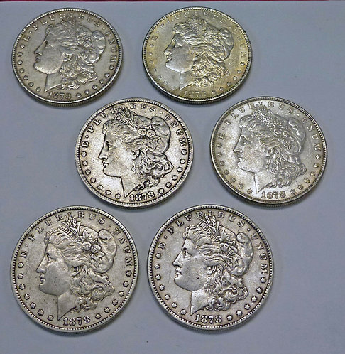 Lot of 6 - 1878 MORGAN Silver Dollars, Reverse