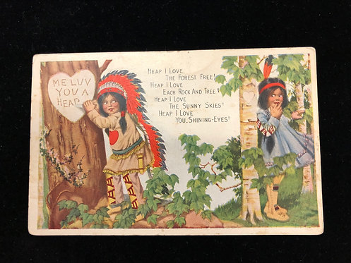Antique 1900's Valentine Postcard, Native Children in a forest Carving into Tree
