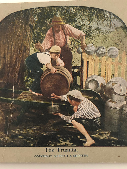 """Antique 1900's COMICAL Stereoview """"Truants"""" 3 BOYS STEALING BEER"""