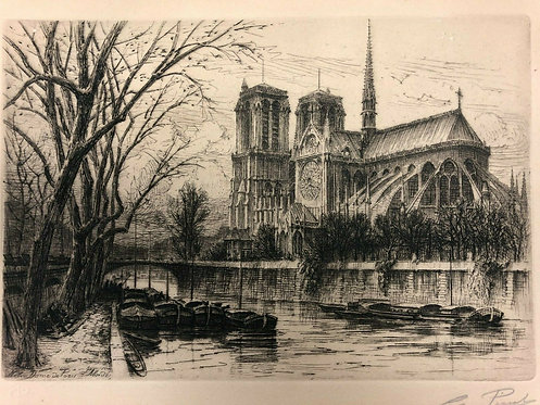 Early 20th Century Pen & Ink Print of PARIS, Notre Dame Cathedral & Seine