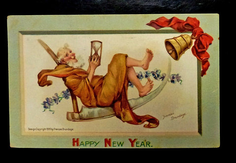 Vintage Postcard Frances Brundage HAPPY NEW YEAR EMBOSSED Father Time