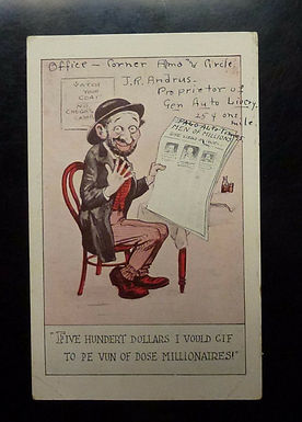 """Vintage Jewish Ethnic Caricature Postcard """"dose millionaires"""" wants to be rich"""