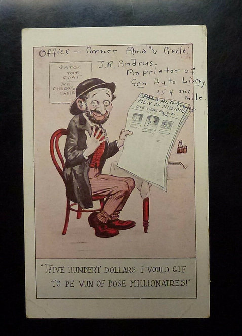 "Vintage Jewish Ethnic Caricature Postcard ""dose millionaires"" wants to be rich"