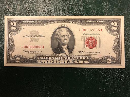 1963 $2 U.S. Note RED Seal A Block AU