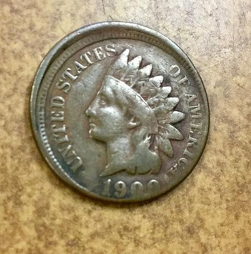 1900 Indian cent struck off center misaligned dies Mint Error