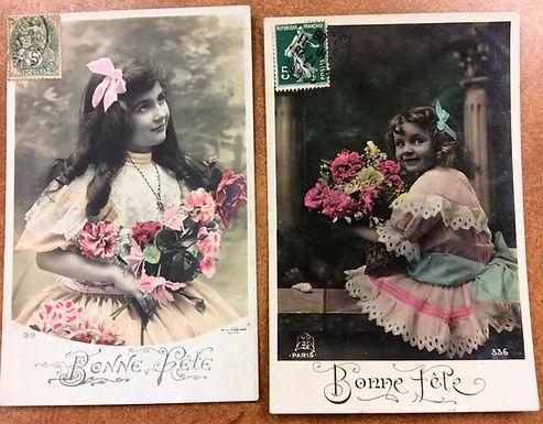 SET OF 2: 1908 Happy Birthday, Bonne Fete Postcards RPPC Edwardian girls flowers