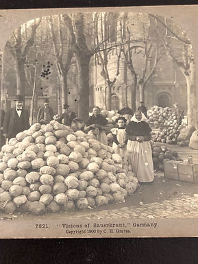 """Antique Stereoview """"Visions of Sauerkraut"""" Germany 1900, MOUNTAINS OF CABBAGE"""