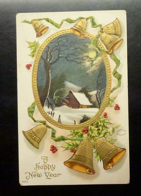 "VINTAGE Postcard ""A Happy New Year"" Embossed Snow Bells Gold highlights"