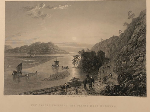 """ENGRAVING on paper 1837 """"Ganges entering the Plains near Hurdwar"""" by G.F. White"""