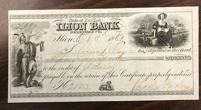 Antique STATE CHECK 1861 State of New York Ilion Bank Herkimer