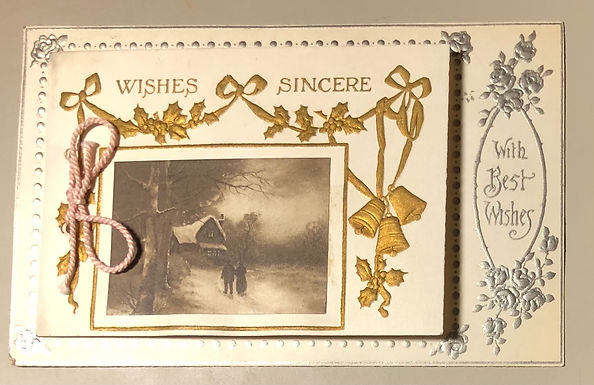 Antique Christmas Postcard - RARE opens as greeting card, English publisher
