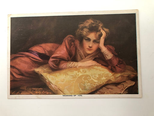 "Vintage POSTCARD 1909 Philip Boileau design ""Thinking of You"" woman reclining"