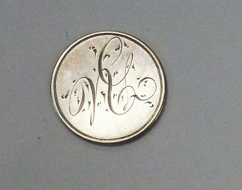 """LOVE TOKEN """"N.G."""" 1852 U.S. 3 Cent Silver"""