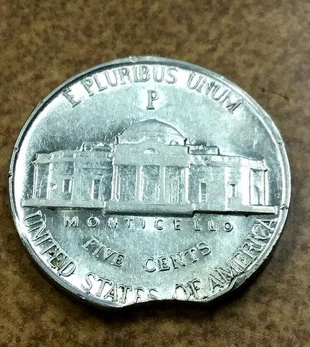 1945-P War Nickel Curved Clip error  bright silver AU
