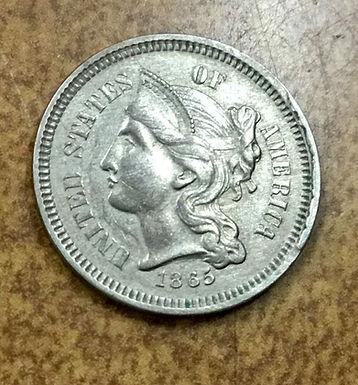 1865 Three Cent Nickel 3c DIE BREAK CUD