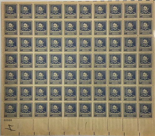 877. Dr. Walter Reed. MNH 5 cent sheet of 70. Issued in 1940
