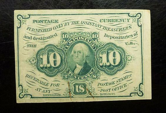 U.S. 10c. TEN CENTS Fractional FIRST Issue Washington Green FR#1242