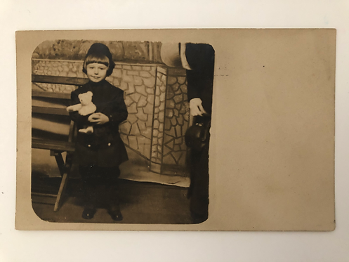 Vintage 1908 Postcard Photo of a CUTE CHILD WITH TEDDY BEAR