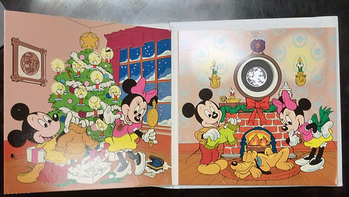 MICKEY Disney Holiday Greetings .999 SILVER Proof token Medallion