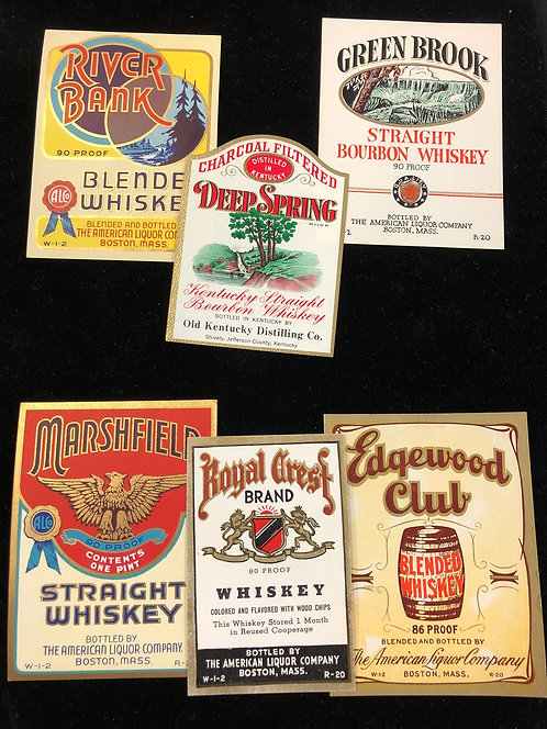 Vintage Bourbon Whiskey Unused Paper Labels- Lot of 6