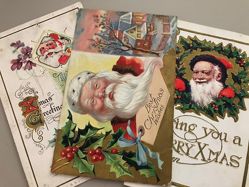 Set of 3 Antique SANTA CLAUSE postcards Merry Xmas Greeting, Christmas Wishes
