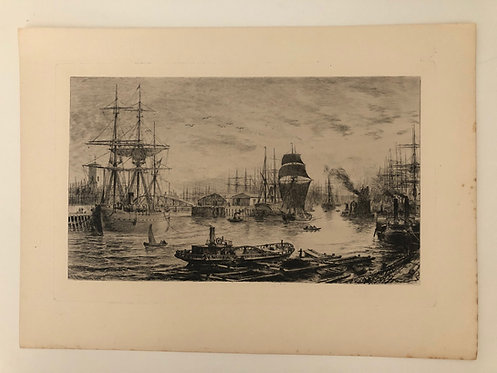 ETCHING depicting a harbor with TALL SHIPS and STEAMBOATS, 1800's VINTAGE