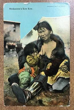 Vintage postcard Alaska postmark 1912 Inuit Eskimo Mother breastfeeding 2 babies