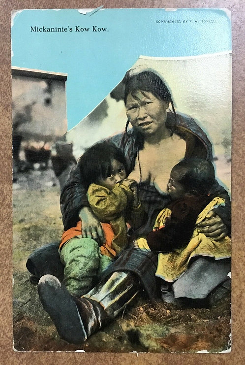 Vintage postcard Alaska postmark 1912 Inuit Eskimo Mother breastfeeding 2 babies