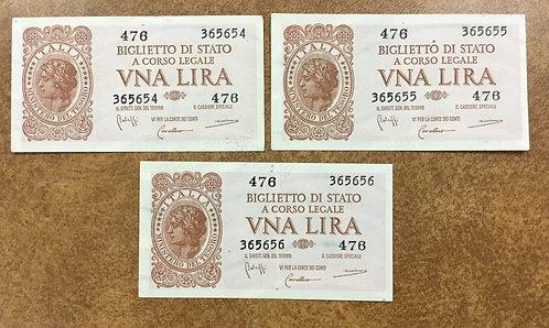 1944 Italy Notes P-29b all 1 Lira, 3 consecutive serial #s