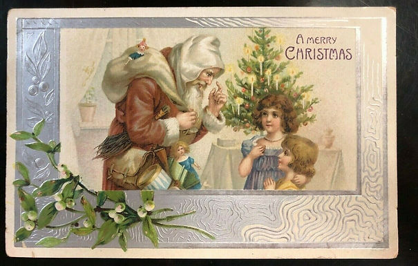 Antique 1900'S Christmas Postcard Santa in Brown Suit