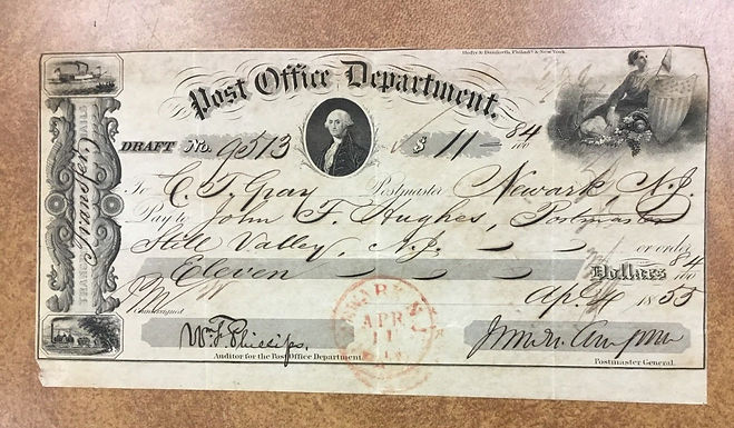 U.S. Post Office Deptartment 1853 Draft Bank Check Newark, N.J. Red Paid cancel
