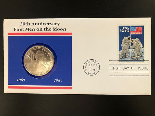 20th Anniversary 1989 FIRST MEN ON THE MOON, FDC & Commemorative Coin W/COA